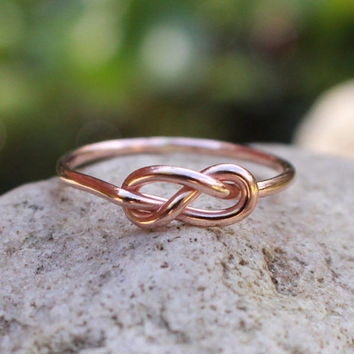 Infinity Knot Ring 14K Rose Gold Filled Figure 8 Bridesmaid Friendship Ring Celtic knot