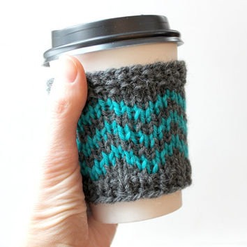 Knit Coffee Cozy, Chevron Cup Sleeve, Teal Cup Cozy, Trendy Gift, Wool Coffee Sleeve, Reusable Cup Cozy, Coffee Lover Gift, Teal and Grey