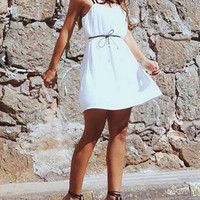 Strappy White Dress With Belt - White Chiffon Summer Dress