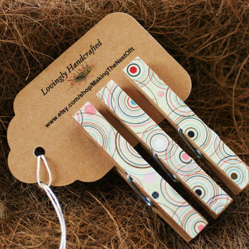 Clothespin Desk Clips  - Concentric Circle Set of 3 Large Wooden