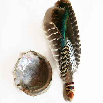 smudge fan. turkey feather,  peruvian fabric, crystal wand //  animal medicine, smudging, sage, fan, ayahuasca, ceremony