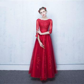 Half Sleeves Bridesmaid Dresses Tulle Lace Applique Sash Lace Up Back Sheer Illusion Red Long Wedding Event Dress Brides Maid