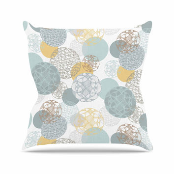 "Maike Thoma ""Floating Circles Design"" White Blue Throw Pillow"