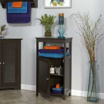 Modern Bathroom Floor Cabinet Free Standing Storage Unit in Espresso Wood Finish