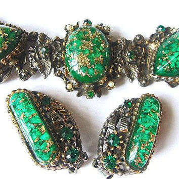 Unsigned SELRO Green Gold Confetti Bracelet Earrings Set, Rhinestones, Seed Pearls, Vintage