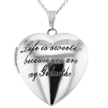 """""""Life is Sweeter Because You are My Godmother"""" Heart Locket Necklace 19"""""""