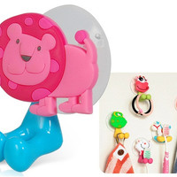 Cartoon Lion Design Toothbrush Holder with Suction Pad