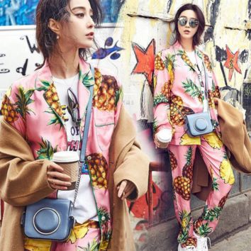 Fashion Long Sleeve Long Pants Pineapple print Casual Pajamas Suit