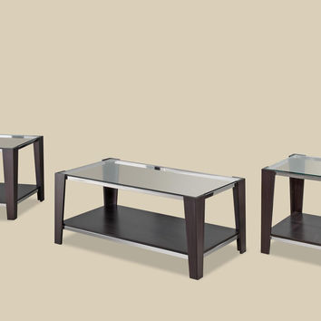 Sylva Merlot Chrome & Glass Coffee Table Set