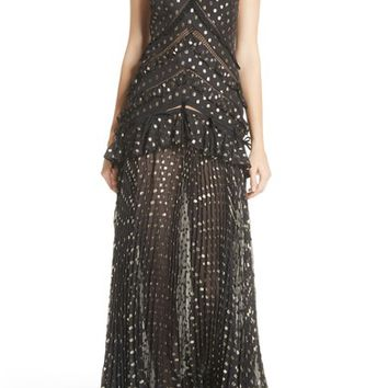 Self-Portrait Metallic Polka Dot Chain Strap Dress | Nordstrom