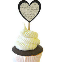 12 I Love You Heart Cupcake Toppers - Valentines Day Party Decorations #ValentinesDay, #decorations, #cupcake, #toppers, #hearts