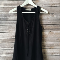 Avah Lace Up Tank (Black)