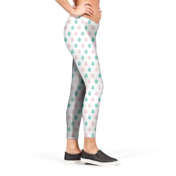 Teal blue and coral pink droplets pattern Leggings by Savousepate from €37.00 | miPic