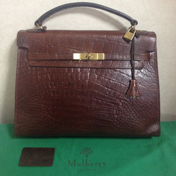 Vintage Mulberry croc embossed leather large Kelly bag with padlock key and matching mirror. Roger Saul era. Rare masterpiece you must get.