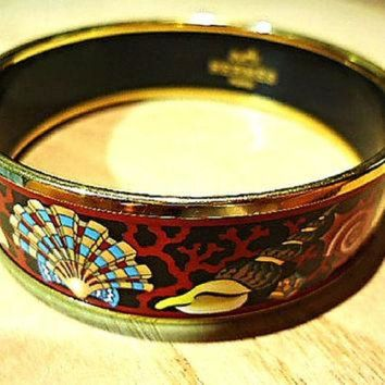 PEAPYD9 Vintage Hermes cloisonne enamel golden thick bangle, bracelet with ocean, black sea,