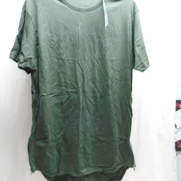 NWT Galaxy by Harvic Men's T-Shirt w/ Side Zipper Accent Olive Green Size Small