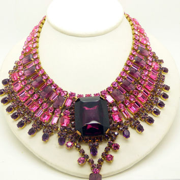 Husar D. Czech Glass Purple and Hot Pink Statement Necklace and Clip Earring Set