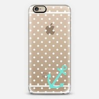 White Pastel Teal Nautical Polka Dot  iPhone 6s case by Organic Saturation | Casetify
