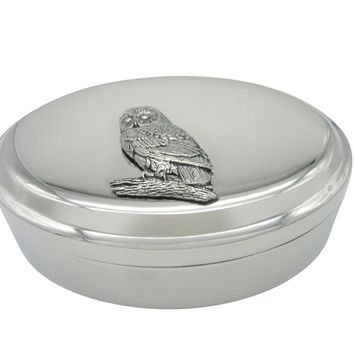 Perched Owl Bird Pendant Oval Trinket Jewelry Box