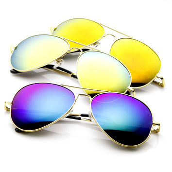 Zerouv Full Gold Frame With Mirrored Lens Sunglasses 1486 [3 Pack]