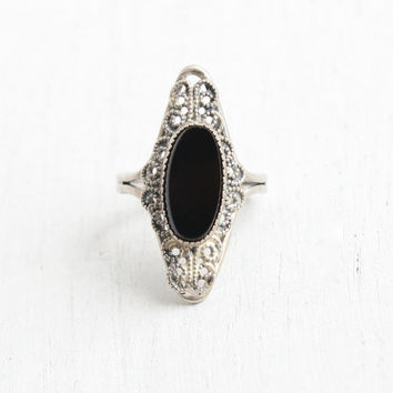 Vintage Sterling Silver Onyx Black Glass Ring - Retro 1960s Hallmarked Beau Adjustable Filigree Statement Jewelry