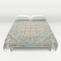 Gypsy Floral in Soft Neutrals, Grey & Yellow on Sage Duvet Cover by Micklyn