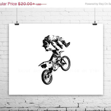 FLASH SALE til MIDNIGHT Freestyle Motocross Dead Body on White, Wall Decor, Wall Art,  Kids Room, Gift Ideas, Motorcycle Prints