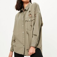 Missguided - Khaki Oversized Ripped Denim Shirt