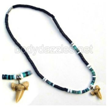 Real Shark Tooth Drop Pendant and White Blue and Black Beads On Cord 18 in. Make a Great Gift