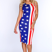 America Flag Print Sexy Bodycon Dress