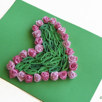 Quilling Card Love Heart, Quilled Valentine's Day Heart, Perfect Romantic Gift, in Green and Pink