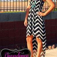BLURRED LINES CHEVRON HI LOW DRESS IN BLACK