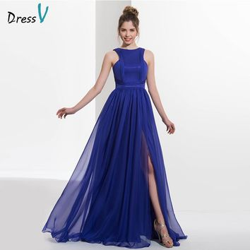 Dressv blue scoop neck A-line chiffon long prom dress sexy sleeveless split front floor length evening dress formal prom dress