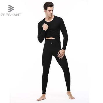 ZEESHANT 2017 Autumn Winter Men Combed Cotton Long Johns O-neck Sexy Warm Thermal Underwear Sets Tops+high Waist Pants