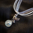 Shattered Marble Dove Chain Charm on White Ribbon by KatieDidsx3
