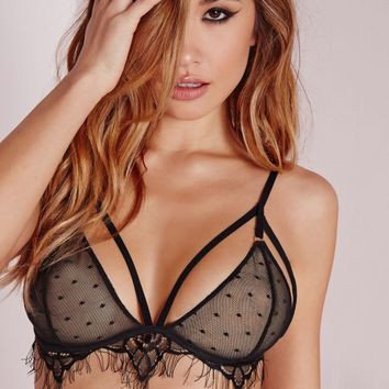 Missguided - Lace Detail Triangle Bra Black