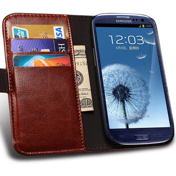 Vintage PU Leather Case For Samsung Galaxy S3 I9300 Book Style Phone Coque Cover Card Slot With Stand For Samsung S3 Case TOMKAS