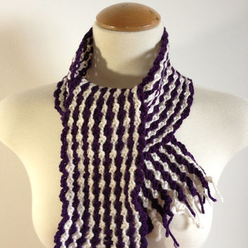 Purple and White Girls' Scarf - Handmade Crochet Girls' Scarf