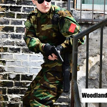 Woodland Tactical Military Uniform Army Militar Men's Clothing CS Combat Uniform Camouflage Hunting Clothes Jacket + pants