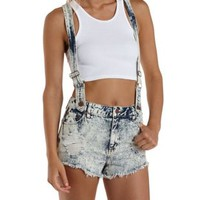 Lt Acid Wash Destroyed Acid Wash Denim Shortalls by Charlotte Russe