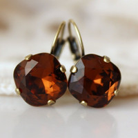 Brown Earrings... Swarovski Cushion Cut Diamond Shaped Square... Antique Brass... Smoked Topaz... Topaz Earrings