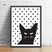 Cat Poster, Kids Print, Baby Print Poster, Nursery Print, Nursery Decor, Happy Art, Wall Decor, Kids Room Decor, Nursery Room Decor.