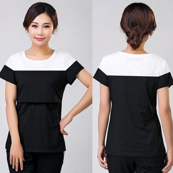 Summer Maternity Nursing Top Cotton Mothers Breast Feeding T-shirt Pregnancy Wear Tees Clothes Pregnant Clothing Hot Selling