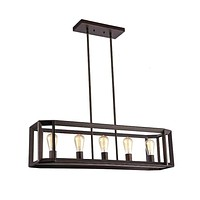 """Ironclad, Industrial-Style 5 Light Rubbed Bronze Ceiling Pendant 34"""" Wide"""