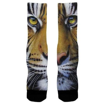 ESBGQ9 Siberian Tiger Face All Over Crew Socks