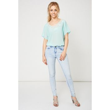 Acid Wash Skinny Jeans In Light Blue Ex-Branded