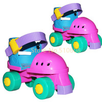 Children roller skates double round four wheel skating shoes adjustable size for 2-7 years old baby