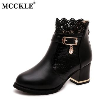 MCCKLE Female Metal Buckle Zip Plaid Lace Chunky Heel Ankle Boots 2017 Women's Fashion Comfortable Black Brand Autumn Shoes