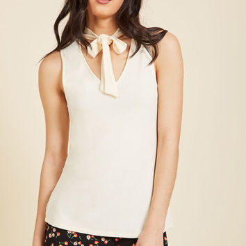 Bold-Faced Tie Tank Top in Ivory
