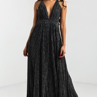 AKIRA Sexy Maxi Gown Long Dress in Black Tinsel